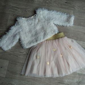 Tulle tutu skirt and fuzzy white sweater SET 6